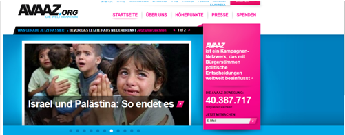 Screenshot Avaaz Homepage